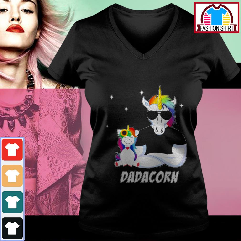 Official Unicorn Dadacorn dad Father's day shirt by tshirtat store V-neck T-shirt