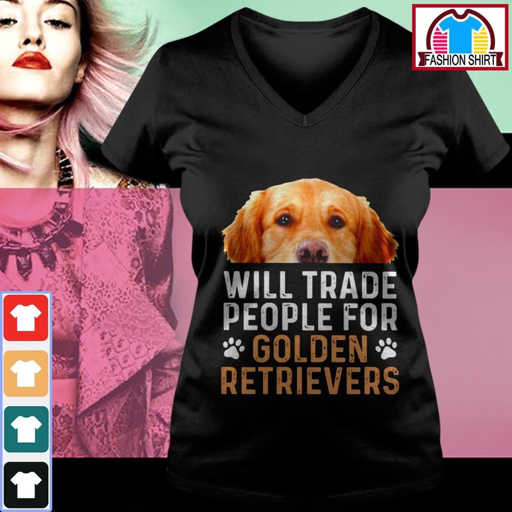 Official Will trade people for Golden Retrievers shirt by tshirtat store V-neck T-shirt
