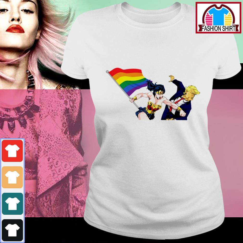 Official Wonder Woman punching Donald Trump face LGBT shirt by tshirtat store Ladies Tee