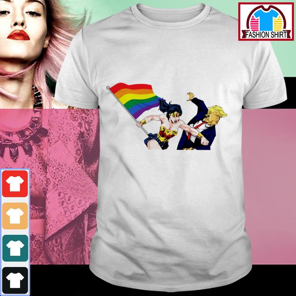 Official Wonder Woman punching Donald Trump face LGBT shirt by tshirtat store Shirt