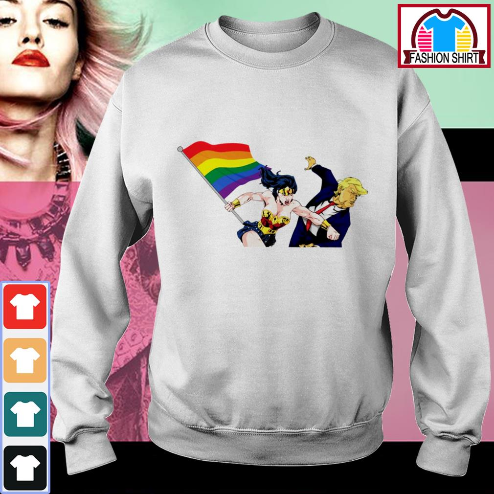 Official Wonder Woman punching Donald Trump face LGBT shirt by tshirtat store Sweater