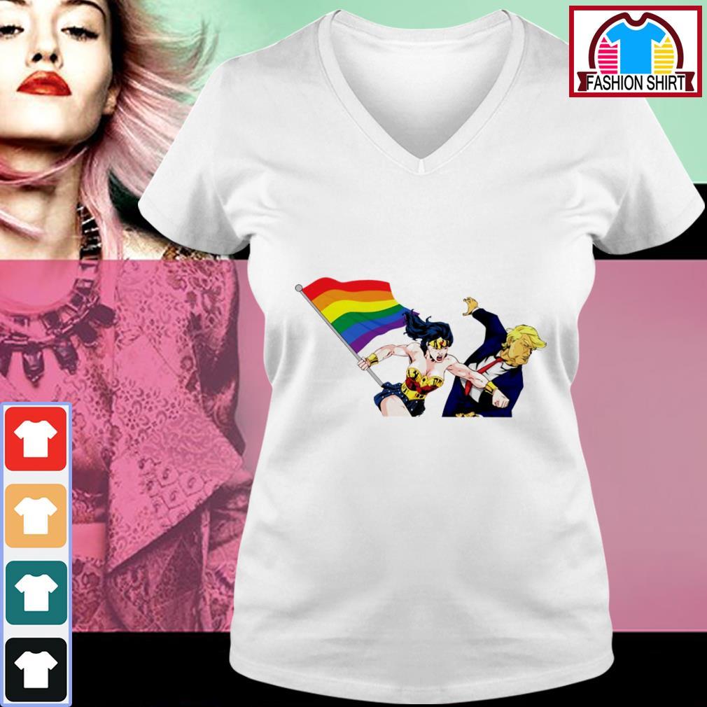 Official Wonder Woman punching Donald Trump face LGBT shirt by tshirtat store V-neck T-shirt