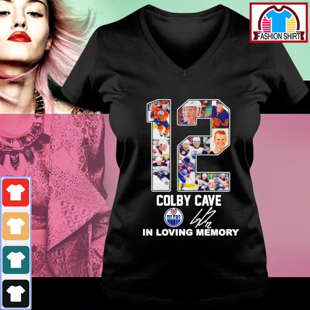 12 Colby Cave Oilers in loving memory s v-neck-t-shirt