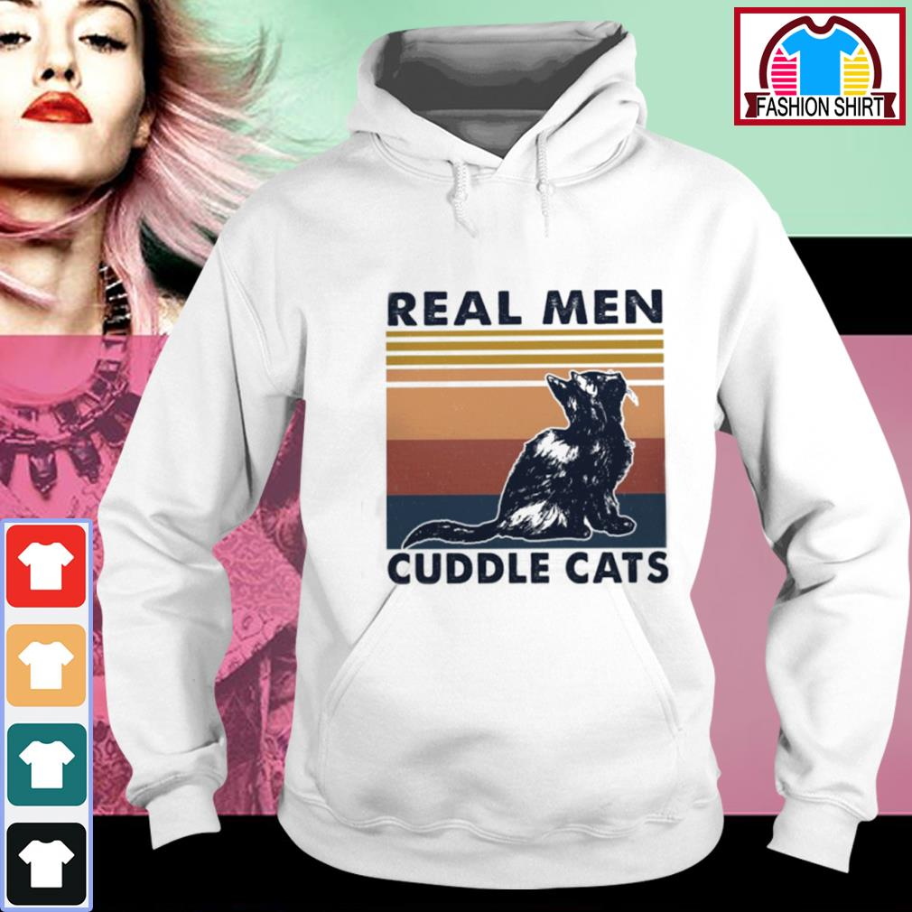 Black cat real men cuddle cats vintage s hoodie