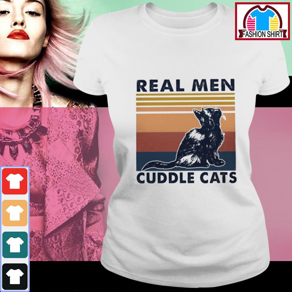 Black cat real men cuddle cats vintage s ladies-tee