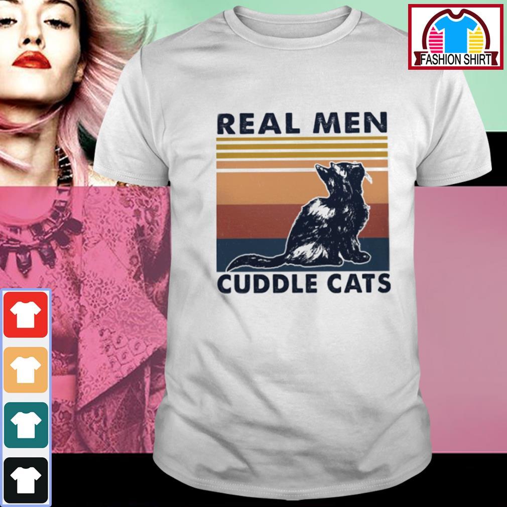 Black cat real men cuddle cats vintage shirt