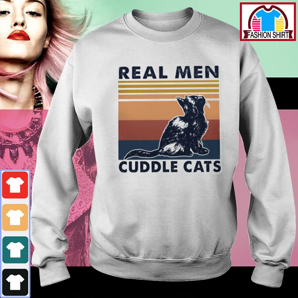 Black cat real men cuddle cats vintage s sweater