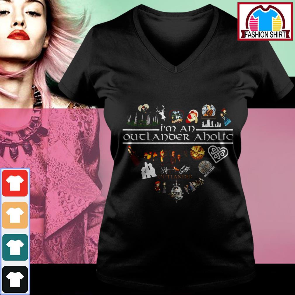 Official I'm an outlander aholic signature heart shirt by tshirtat store V-neck T-shirt