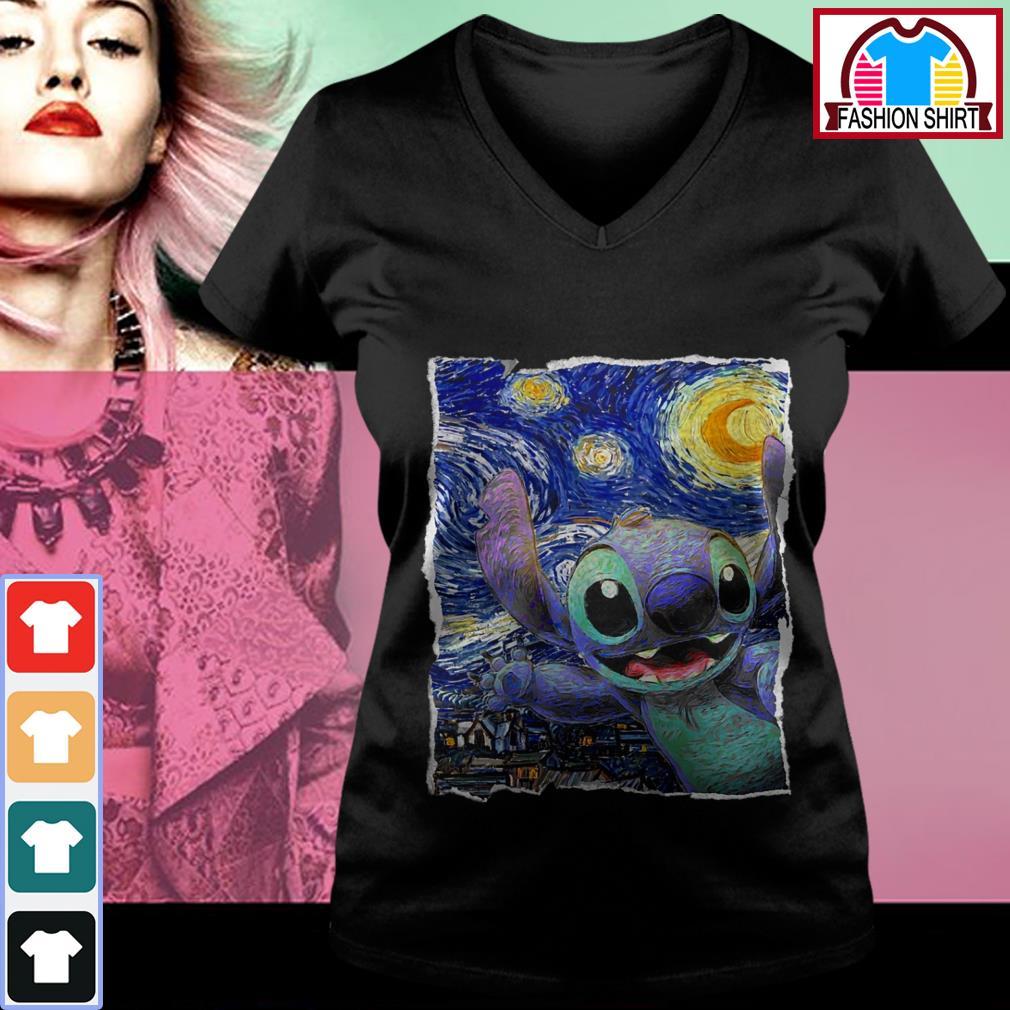 Official Stitch Starry Night Van Gogh shirt by tshirtat store V-neck T-shirt