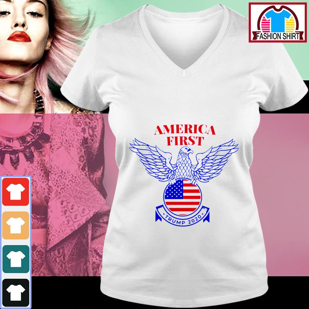 Official Trump Nazi Eagle America First shirt by tshirtat store V-neck T-shirt