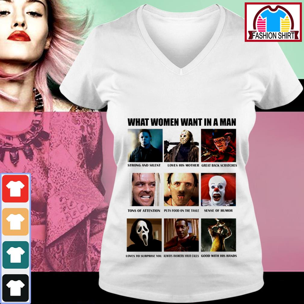 What women want in a man strong and silent like Michael Myers V-neck T-shirt