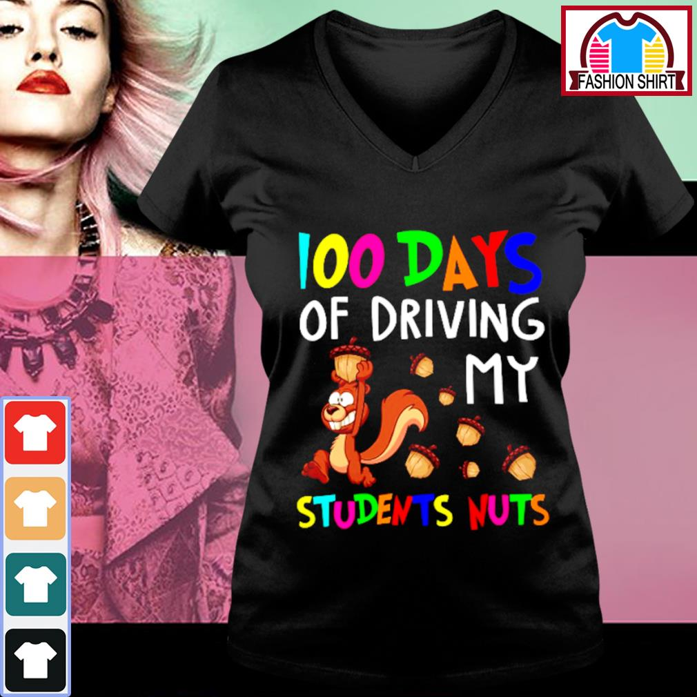 100 days of driving my students nuts s v-neck-t-shirt