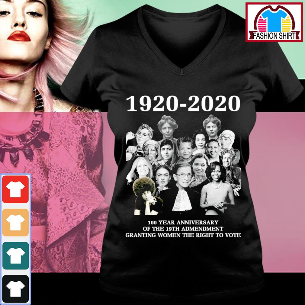 1920-2020 100 year anniversary of the 19th admendment granting women the right to vote s v-neck-t-shirt