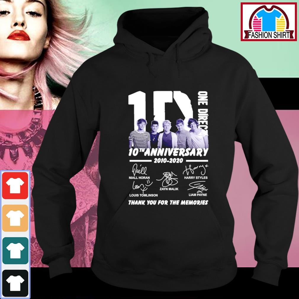 1D One Direction 10th anniversary 2010 2020 thank you for the memories s hoodie