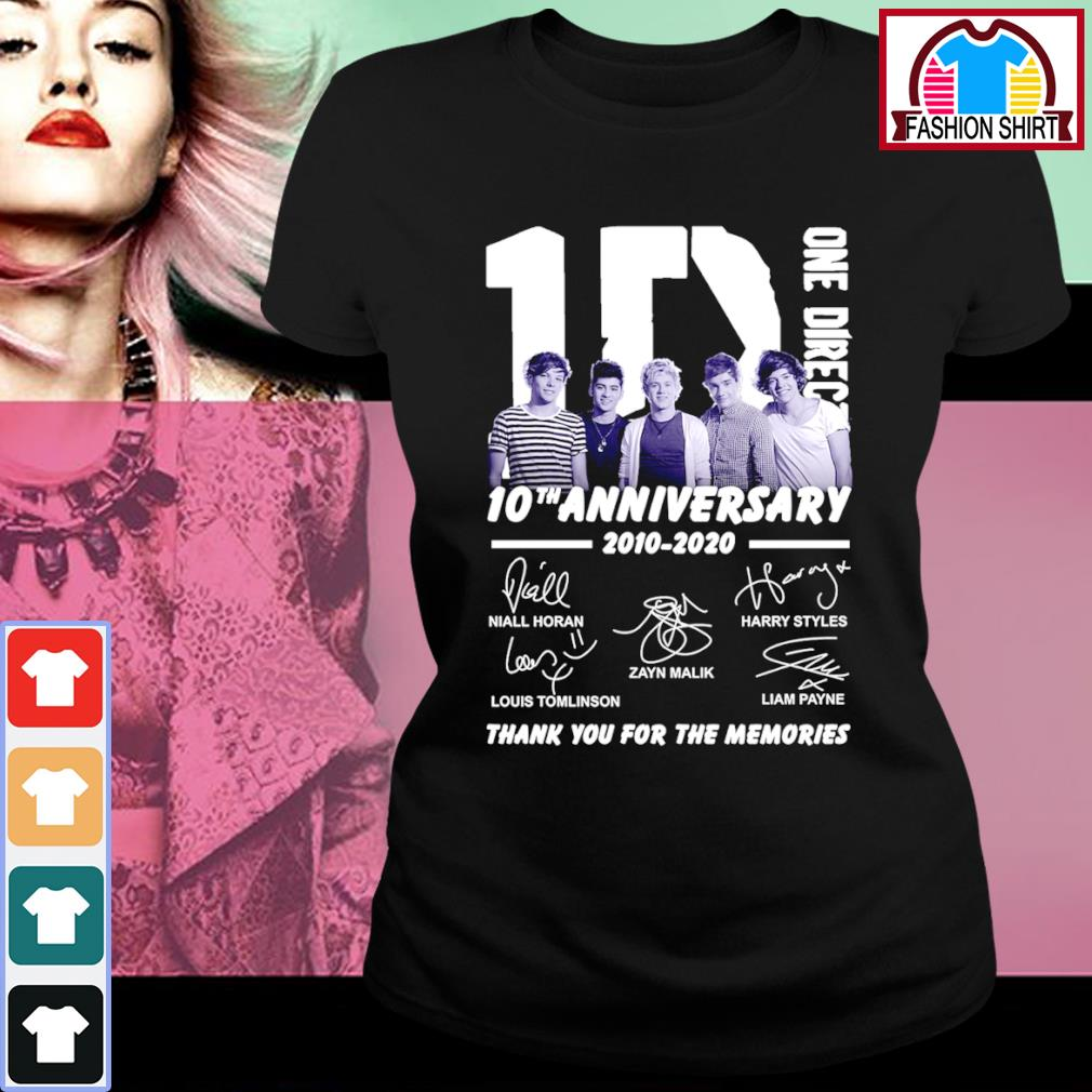 1D One Direction 10th anniversary 2010 2020 thank you for the memories s ladies-tee