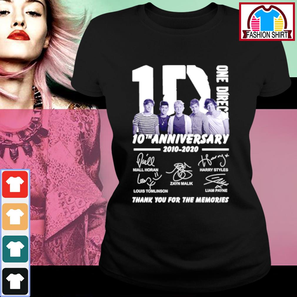 1D One Direction 10th anniversary 2010-2020 thank you for the memories s ladies-tee