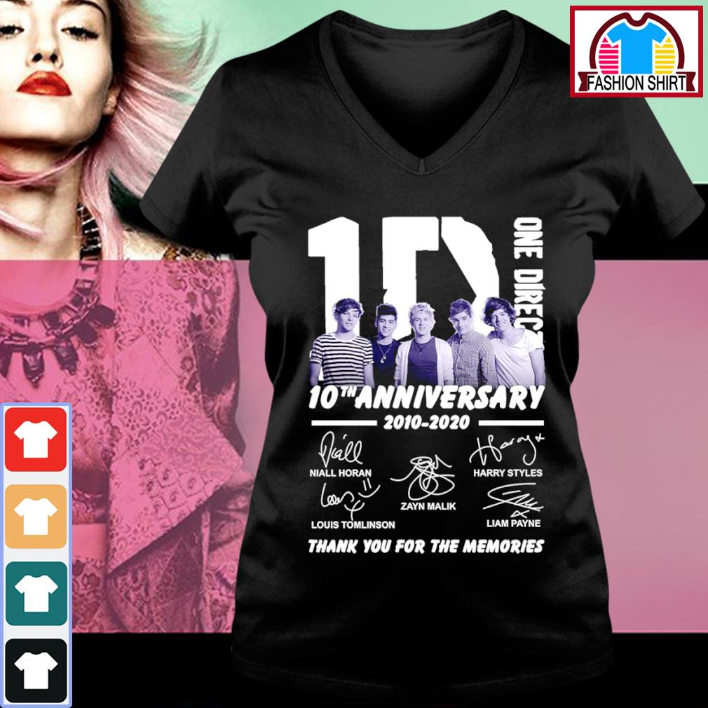 1D One Direction 10th anniversary 2010 2020 thank you for the memories s v-neck-t-shirt