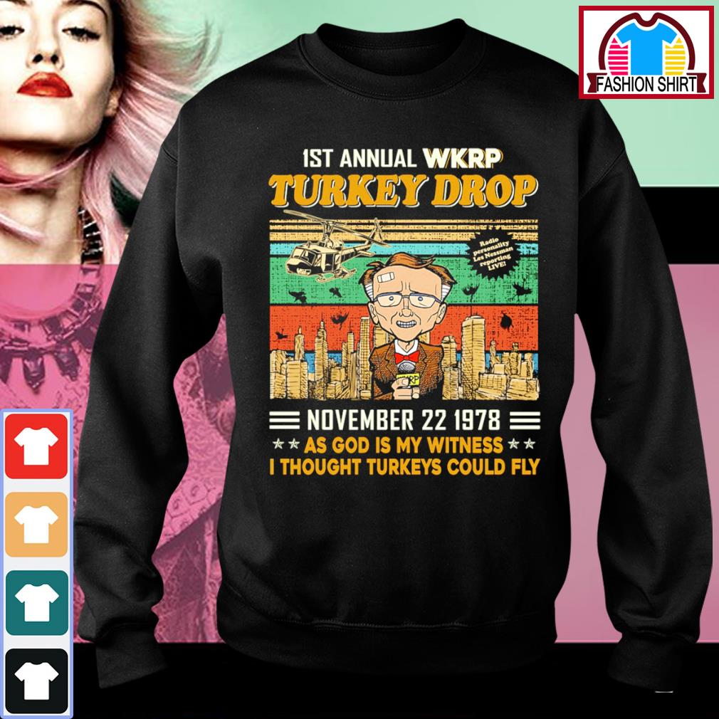 1st annual WKRP Turkey Drop November 22 1978 as God is my witness I thought turkeys could fly vintage s sweater