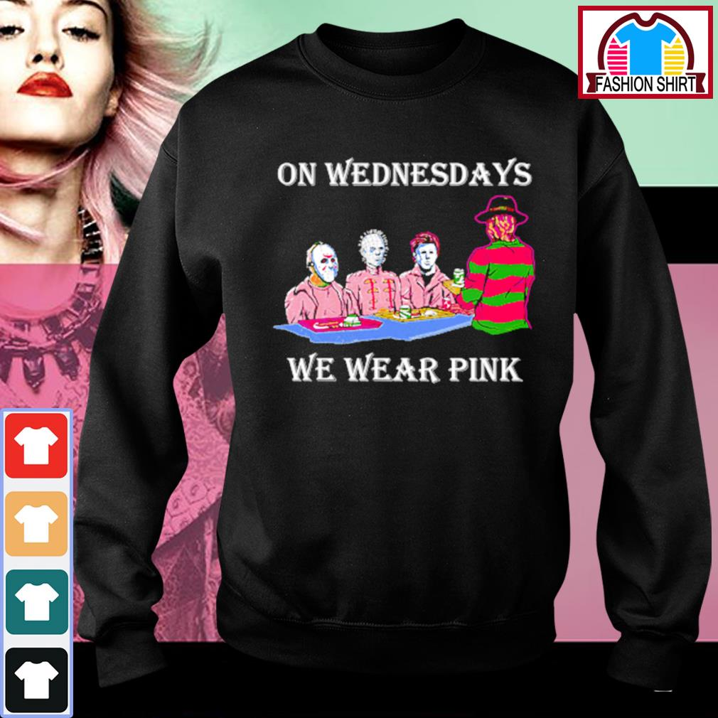 Halloween horror characters on Wednesdays we wear pink s sweater
