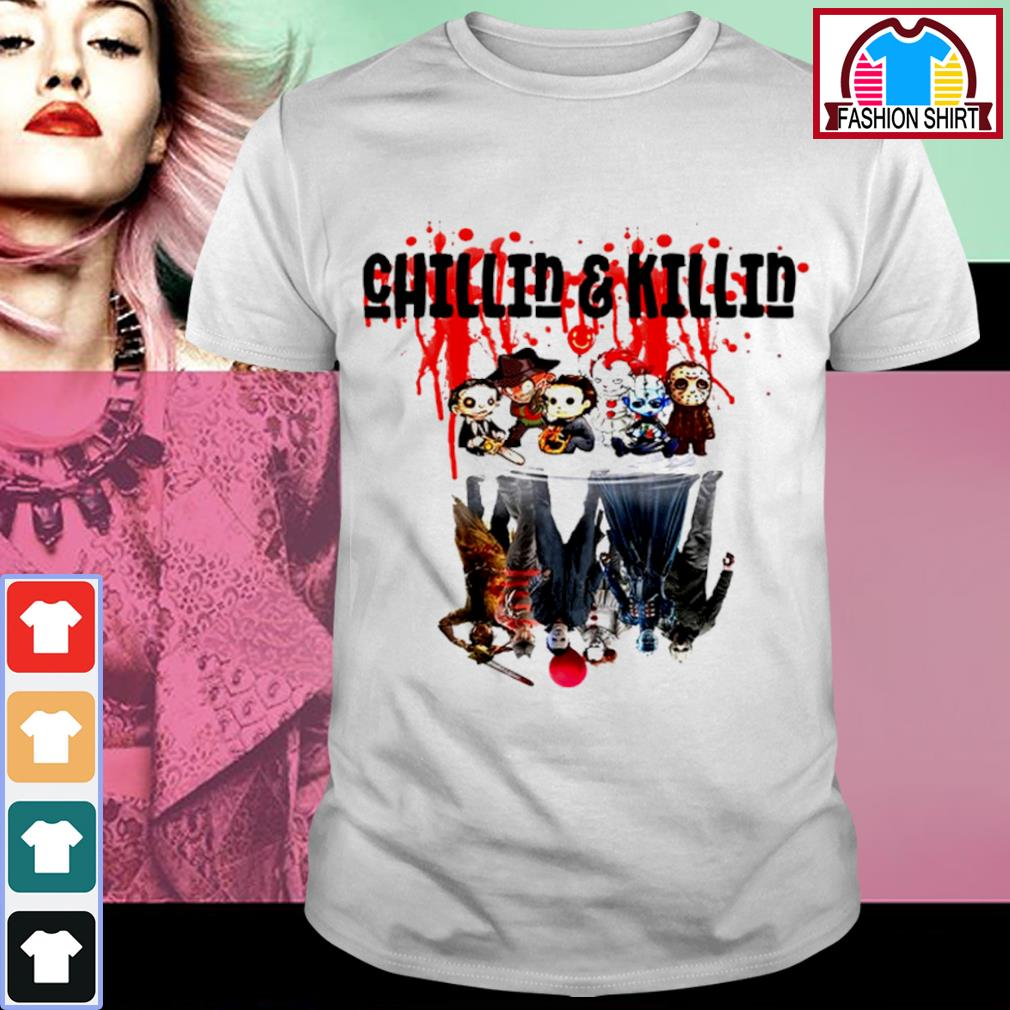 Halloween horror movies characters chibi chillin and killin water reflection mirror shirt