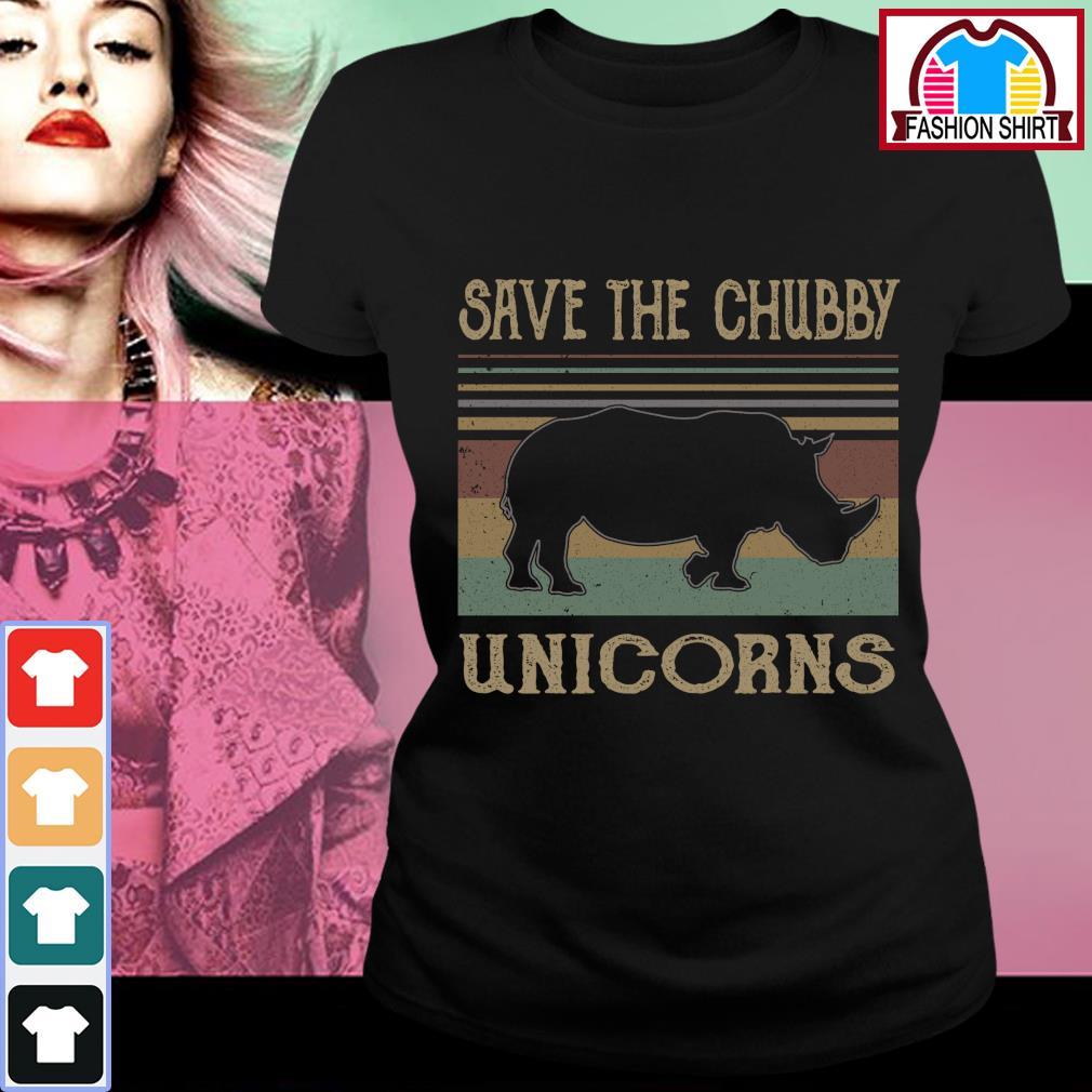 Save the chubby unicorns vintage s ladies-tee