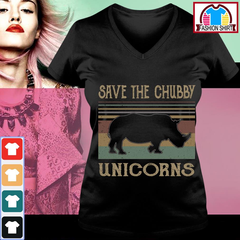 Save the chubby unicorns vintage s v-neck-t-shirt