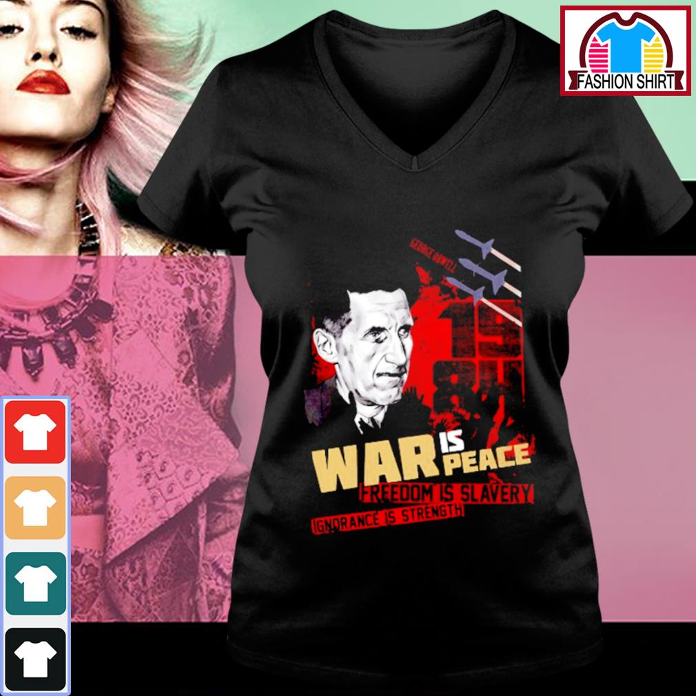 1984 War is peace freedom is slavery ignorance is strength s v-neck-t-shirt