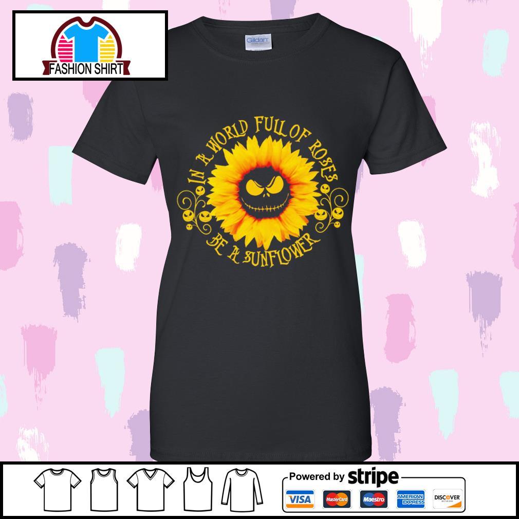 Jack Skellington sunflower in a world full of roses be a sunflower s v-neck-t-shirt