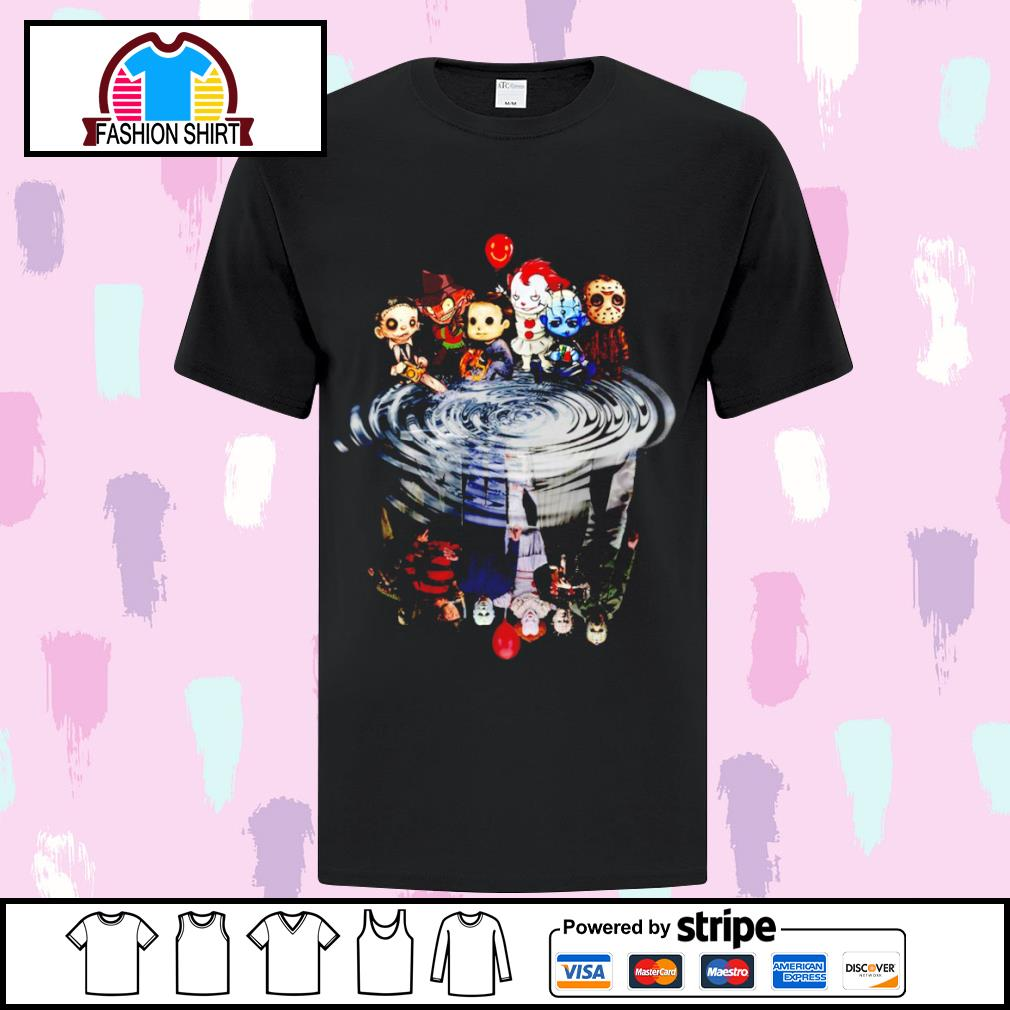 Jason Michael Freddy Leatherface Pennywise chibi water reflection s ladies-tee