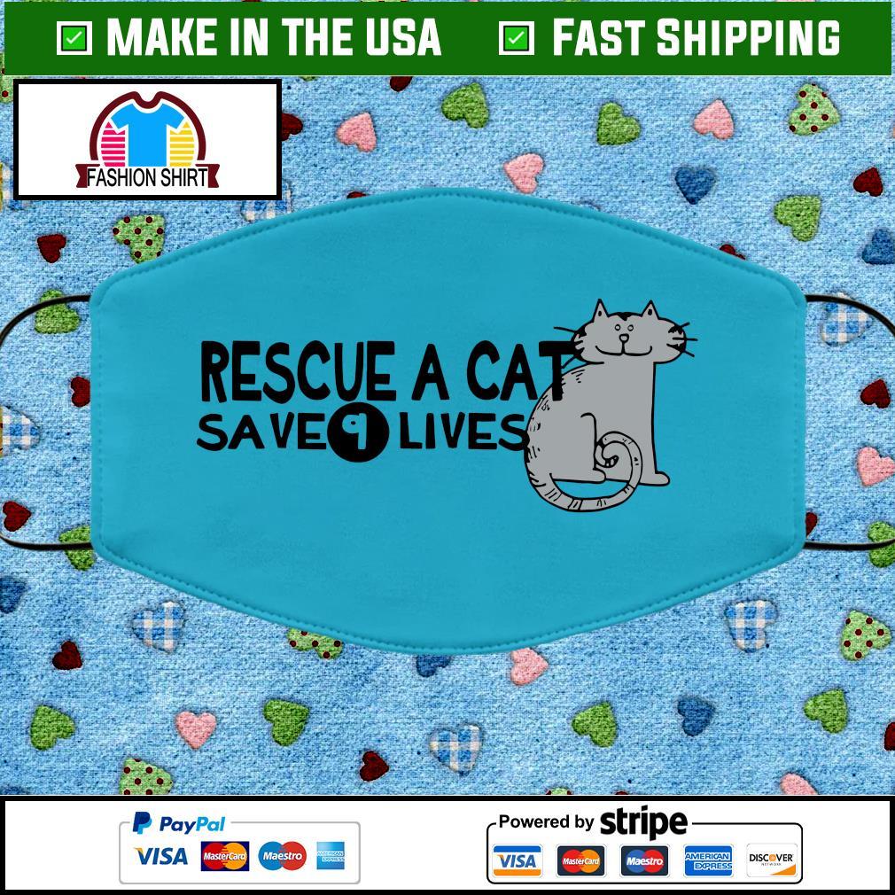 Rescue a cat save 9 lives face mask blue