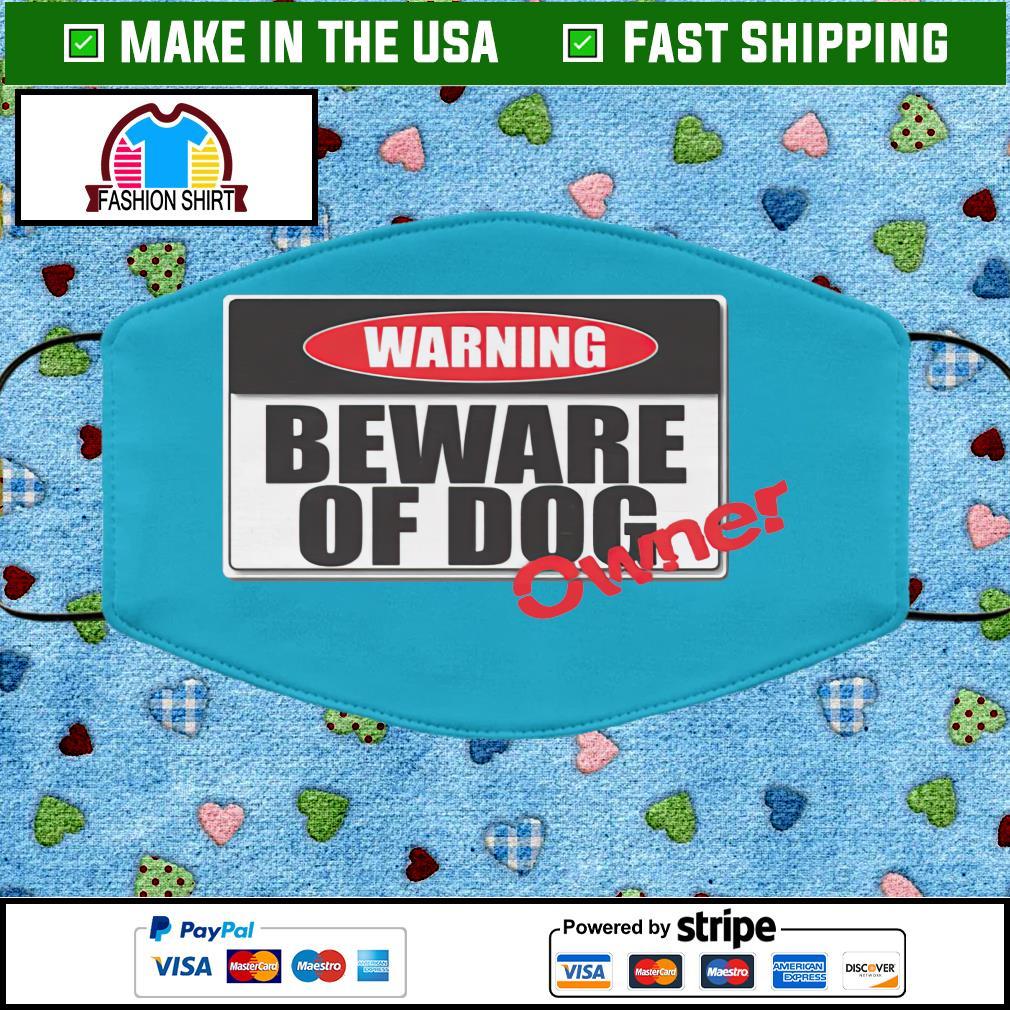 Warning beware of dog face mask blue