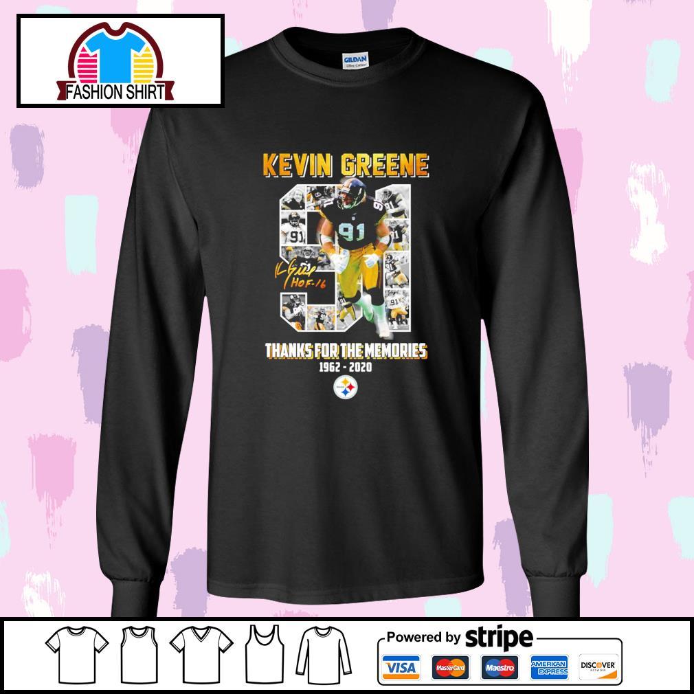 91 Kevin Greene thanks for the memories 1962 2020 Pittsburgh Steelers s longsleeve-tee