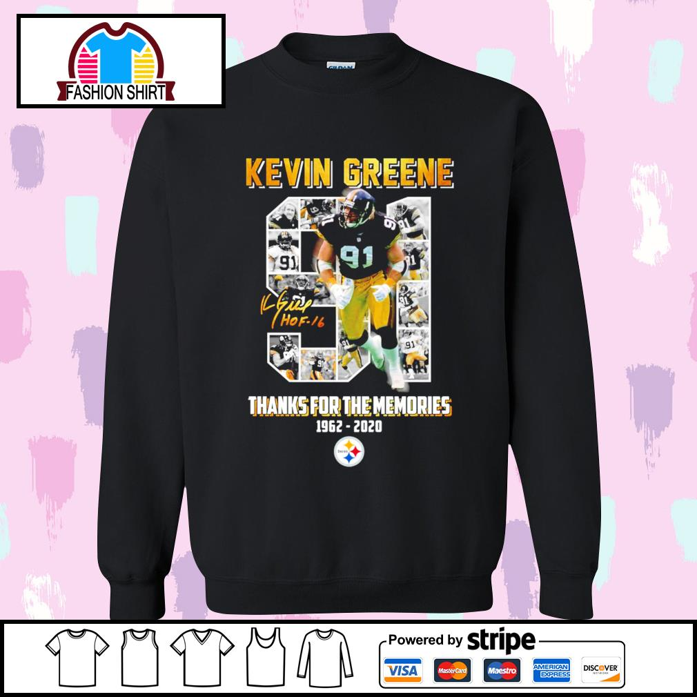 91 Kevin Greene thanks for the memories 1962 2020 Pittsburgh Steelers s sweater