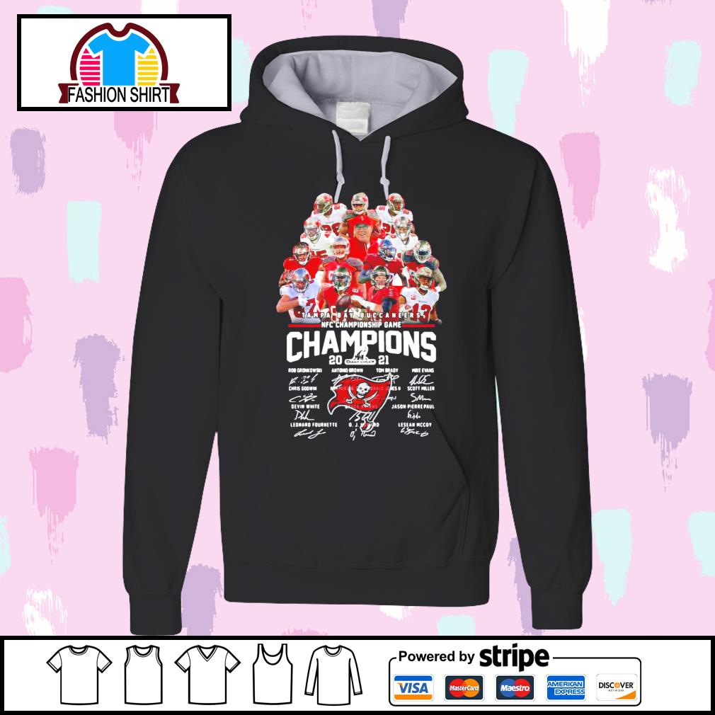 Tampa Bay Buccaneers NFC Championship Game Champions 2021 signature s hoodie