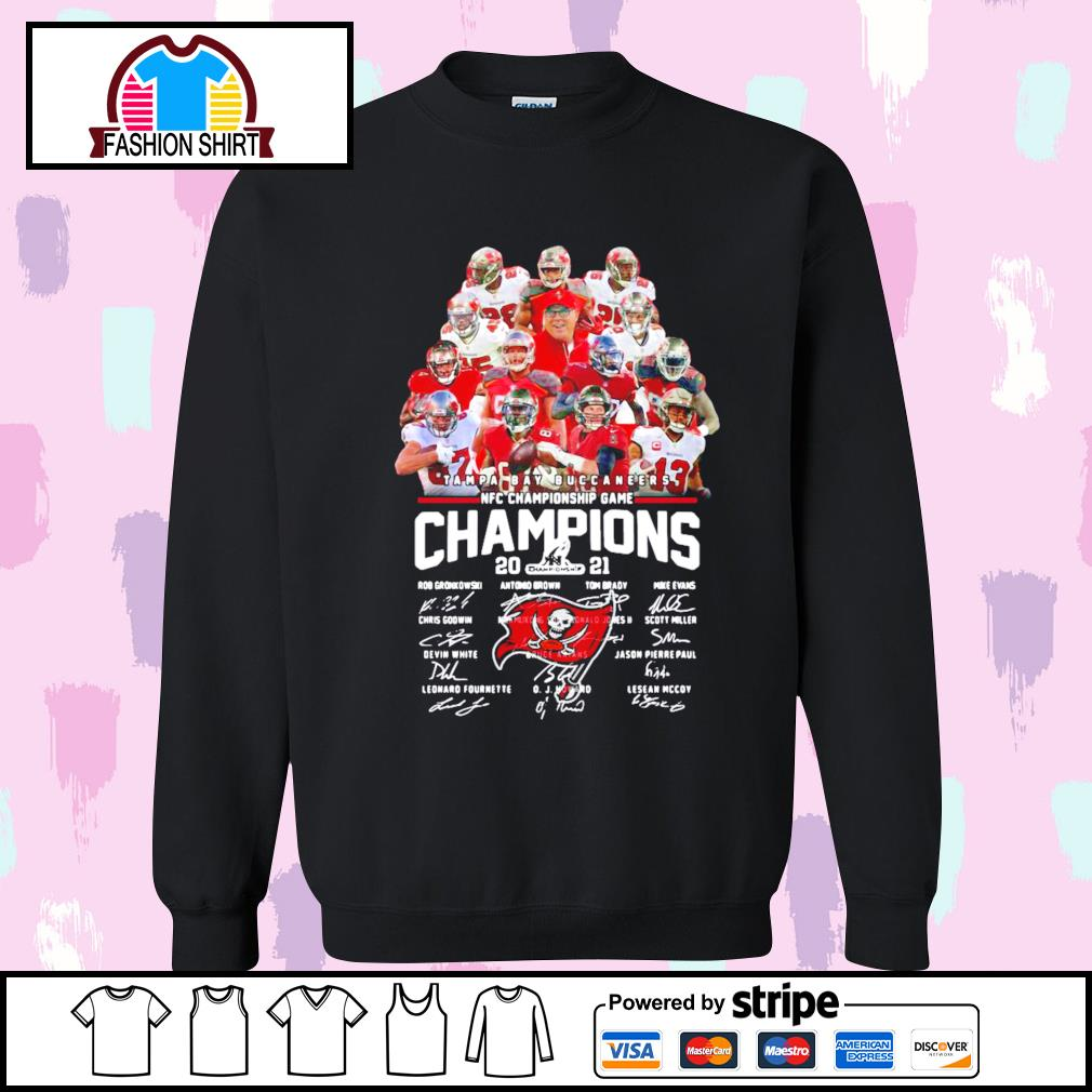 Tampa Bay Buccaneers NFC Championship Game Champions 2021 signature s sweater