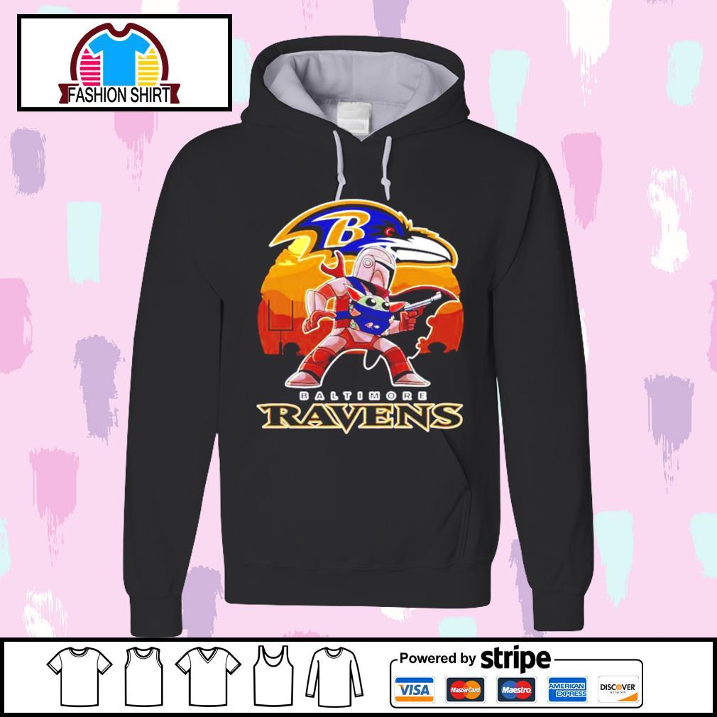 The Mandalorian Star War Baby Yoda with Baltimore Ravens 2021 s hoodie