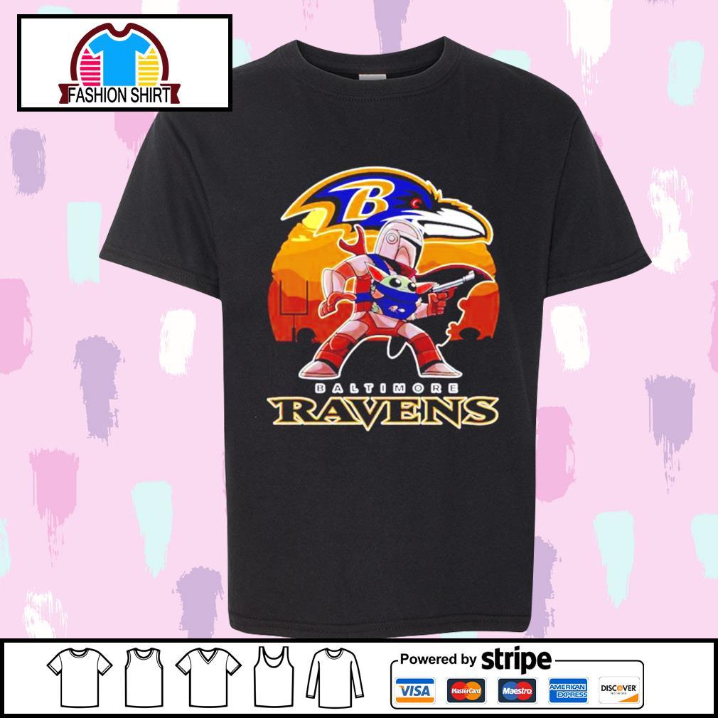 The Mandalorian Star War Baby Yoda with Baltimore Ravens 2021 shirt