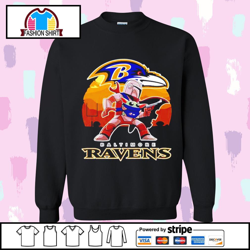 The Mandalorian Star War Baby Yoda with Baltimore Ravens 2021 s sweater