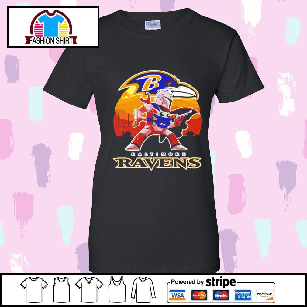 The Mandalorian Star War Baby Yoda with Baltimore Ravens 2021 s v-neck-t-shirt